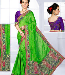 Buy Parrot green hand woven jute saree with blouse jute-saree online