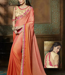 Buy Orange embroidered chiffon saree with blouse wedding-saree online