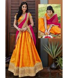 Buy Orange plain cotton unstitched lehenga cotton-lehenga online