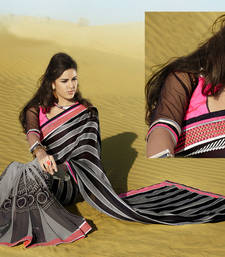 Buy Hypnotex Black Grey Satin Georgette Saree Jensi7010A designer-embroidered-saree online