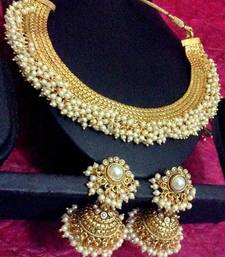 Buy South Indian style chandni pearls golden ADIVA copper bridal necklace set z101w necklace-set online