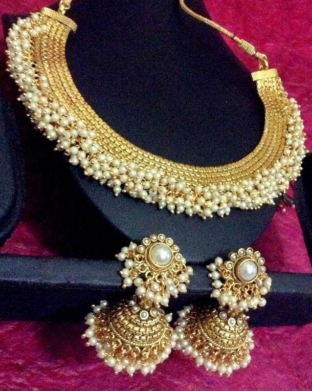 Buy South Indian Style Chandni Pearls Golden Adiva Copper