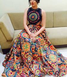 Buy Multicolor embroidered crepe unstitched lehenga ghagra-choli online