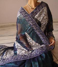 Shimmer Blue Party Wear Saree shop online