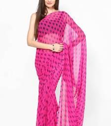 Buy Pink Jaipuri Print Chiffon Saree printed-saree online