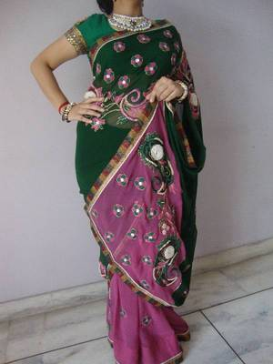 Double Coloured Saree