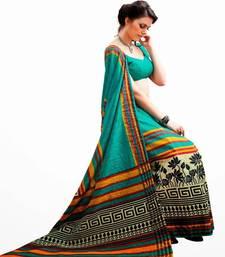 Buy Aria Printed sea green raw silk saree 2351 tussar-silk-saree online