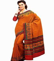 Buy Aria printed orange raw silk saree 2362 tussar-silk-saree online