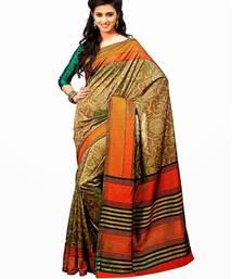 Buy Aria Printed beige raw silk saree 2367  tussar-silk-saree online