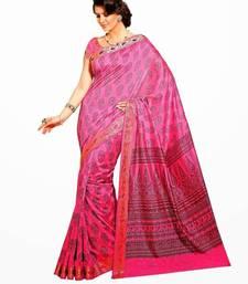 Buy Aria printed baby pink raw silk saree 2376 tussar-silk-saree online