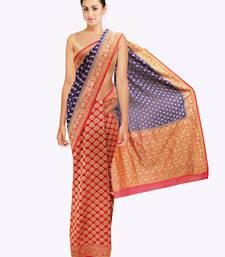 Buy Purple-Red Banarasi Partywear Wedding sari banarasi-saree online
