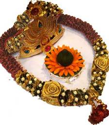 Buy Traditional Ganesh Garland Hamper with Crown and Pooja Modak traditionalganeshgarland ganesh-chaturthi-gift online