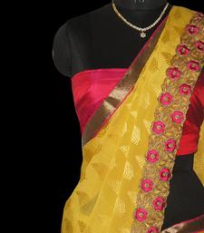 Buy mustard chiffon chiffon-saree online