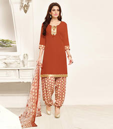 Buy Dark amber lace crepe unstitched salwar with dupatta punjabi-suit online