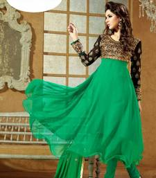 Ladies Latest Fashion – Frock Style Green Anarkali Suit shop online