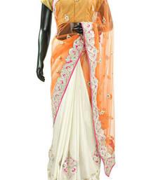Buy Beautiful White Pure silk & orange embroideried net half & half saree - SR4684 printed-saree online