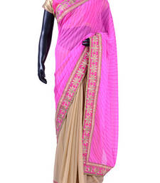 Buy Pink & beige combo printed georgette saree with pink & gold border - SR4934 printed-saree online