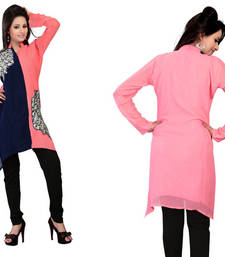 Buy Hypnotex Pink Blue Georgette Kurtis Alesia3B kurtas-and-kurti online