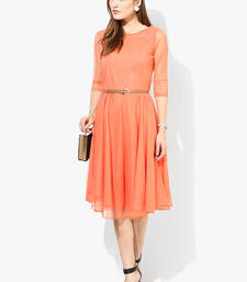 Buy Orange plain net short-kurtis short-kurti online
