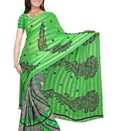 Buy Multi Print satin patti saree printed-saree online