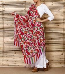 Buy Magenta & Pink Pure Silk Stole shawl online
