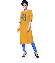 Buy Yellow embroidered cotton cotton-kurtis cotton-kurti online