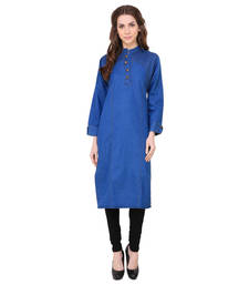 Buy Light blue plain crepe ethnic-kurtis ethnic-kurti online
