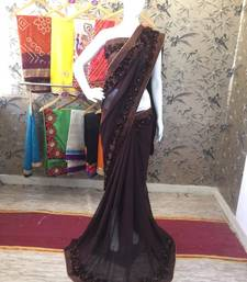 Buy Coffee woven georgette saree with blouse party-wear-saree online