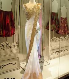 Buy White plain georgette saree with blouse other-actress-saree online