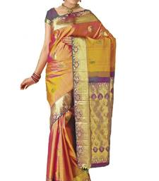 Buy Orangish yellow zari weaved handloom silk saree with gold pallu diwali-sarees-collection online