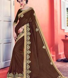 Buy Brown embroidered jute saree with blouse jute-saree online