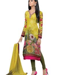 Buy Mustard  faux crepe salwar with dupatta semi-stitched-salwar-suit online