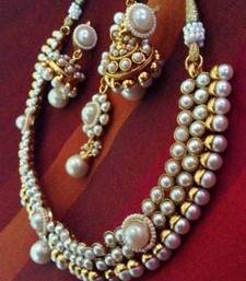 Buy Pearl ethnic glowing India traditional ADIVA woman copper necklace set ab62 necklace-set online