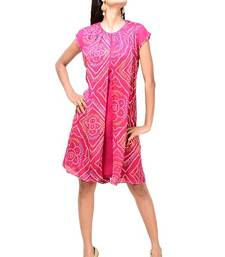 Buy Fuchsia Faux Georgette Readymade Tunic kurtas-and-kurti online