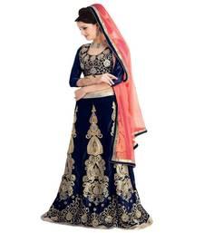 Buy Moiaa Blue and orange velvet pattern designer lehenga saree with designer blouse piece lehenga-saree online