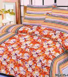 Buy Aria 100% cotton double orange floral  printed bedsheet  00491  bed-sheet online