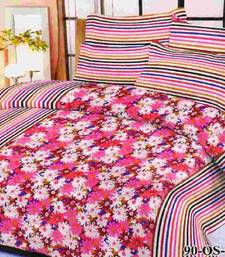 Buy Aria 100% cotton double pink floral printed bedsheet 00491 bed-sheet online