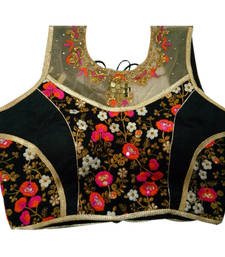 Buy Black Georgette Embroidered stitched blouse readymade-blouse online