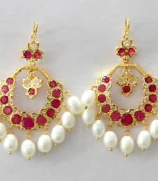 ETHENIC POLKI RUBY N REAL WHITE PEARLS HANGINGS IN CHAND BALI STYLE shop online