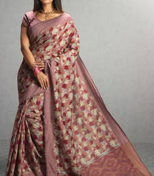 Buy light_pink woven cotton saree with blouse cotton-saree online