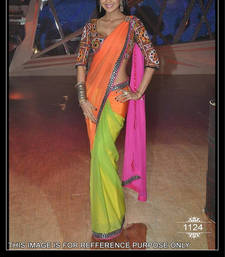 Buy PINK ORANGE GREEN PLAIN NET CELEBRITY SAREE WITH BLOUSE net-saree online