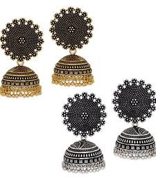 Buy Oxidised Gold & Silver Plated Handmade Jhumka Jhumki Earrings jhumka online