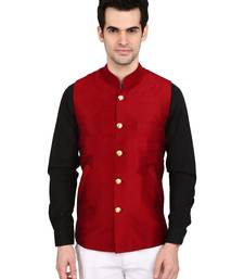 Buy indian ATTIRE Designer Ethnic Maroon Solid Blended Silk Koti (Waistcoat) For Men nehru-jacket online