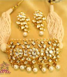 Buy Royal kundan & Pearl Choker Necklace Set  black-friday-deal-sale online