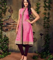 Buy Pink plain silk stitched party-wear-kurtis party-wear-kurti online