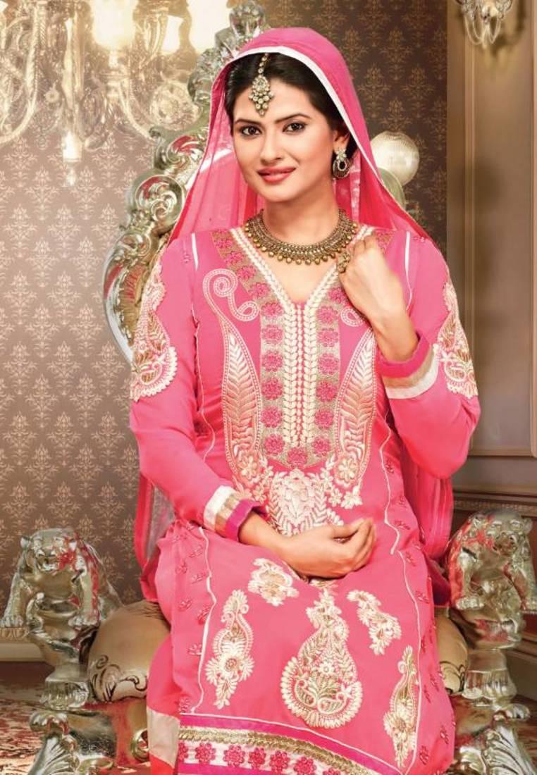 Buy Kratika Sengar Pink Color Embroidered Designer Salwar