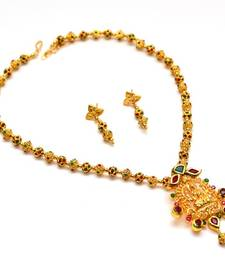 Buy Anvi's lakshmi pendent (temple jewellery) with gundla mala Necklace online