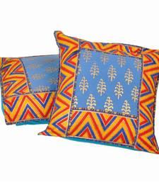 Buy Sanganeri Gold Print Cotton Cushion Cover Pair bed-sheet online