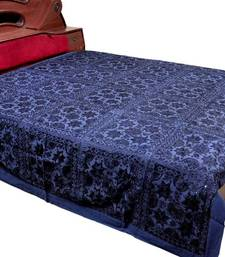 Buy Mirror Embroidery Blue Cotton Double Bedcover bed-sheet online