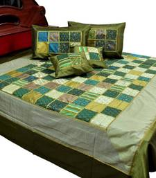 Buy Chess Design Green Silk Double Bed Cover with 4 pillow cover bed-sheet online